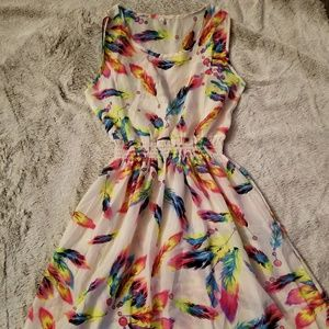 NWOT Sheer neon feather dress
